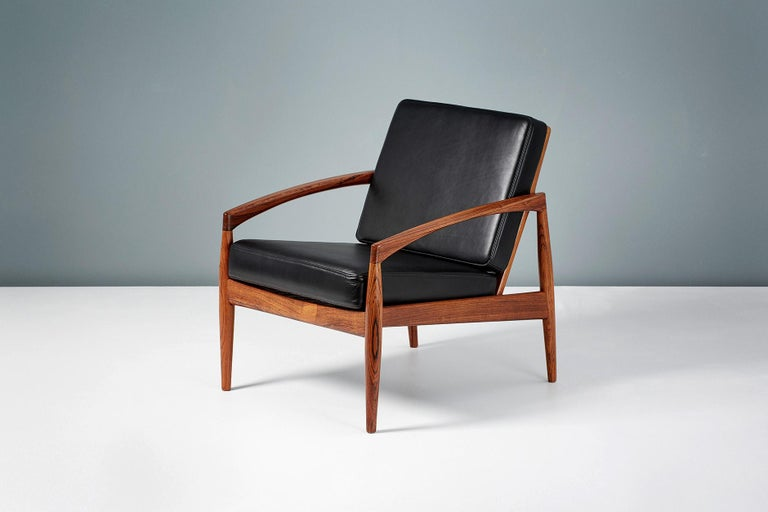 Mid-20th Century Kai Kristiansen Rosewood and Leather Paper Knife Lounge Chair For Sale