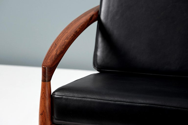 Kai Kristiansen Rosewood and Leather Paper Knife Lounge Chair For Sale 1