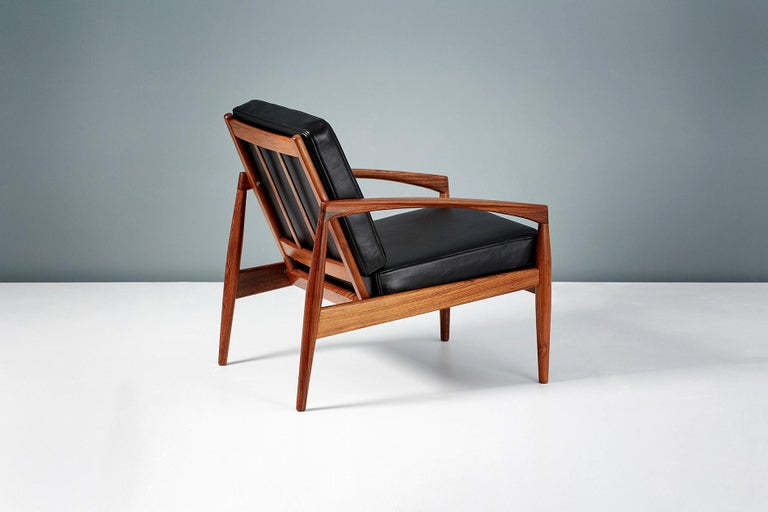 Kai Kristiansen Rosewood and Leather Paper Knife Lounge Chair For Sale 2