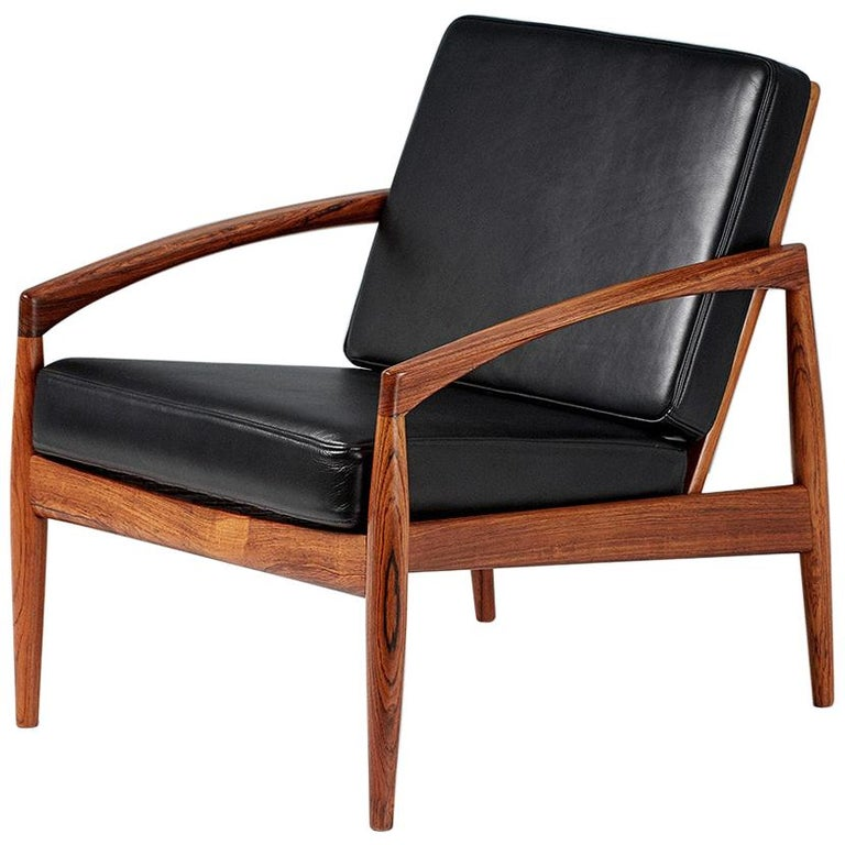 Kai Kristiansen Rosewood and Leather Paper Knife Lounge Chair For Sale
