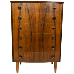 Kai Kristiansen Rosewood Bow-fronted Chest of Drawers, Denmark, 1960s