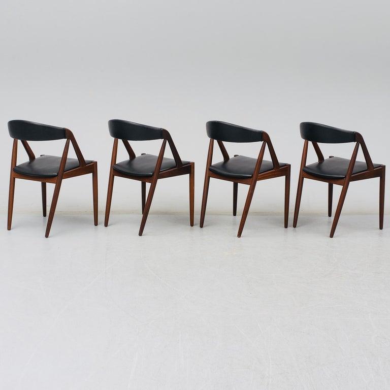 Scandinavian Modern Kai Kristiansen Mahogany Dining Chairs Model 31, Denmark, 1960 For Sale