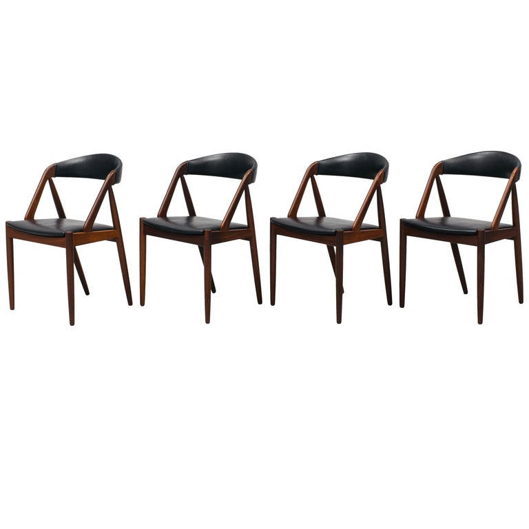 Kai Kristiansen Mahogany Dining Chairs Model 31, Denmark, 1960 For Sale