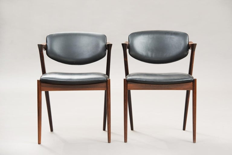 Scandinavian Modern Kai Kristiansen Rosewood Dining Chairs, Model 42, Set of Six For Sale