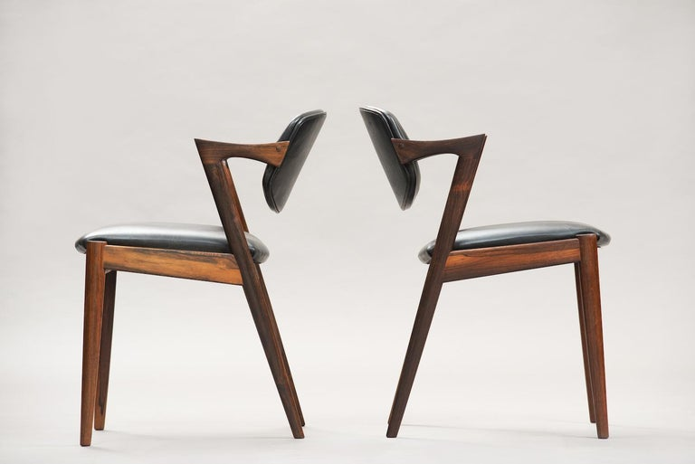 Danish Kai Kristiansen Rosewood Dining Chairs, Model 42, Set of Six For Sale