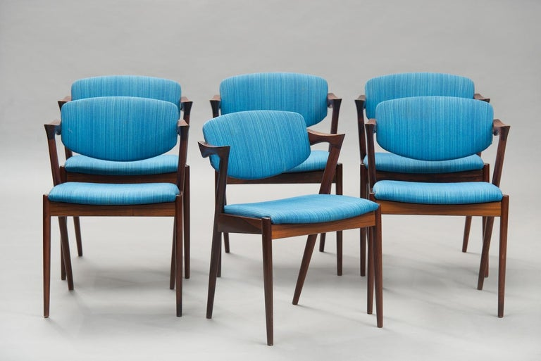 Danish Kai Kristiansen Rosewood Dining Chairs, Model 42, Set of Six, 1960s. For Sale