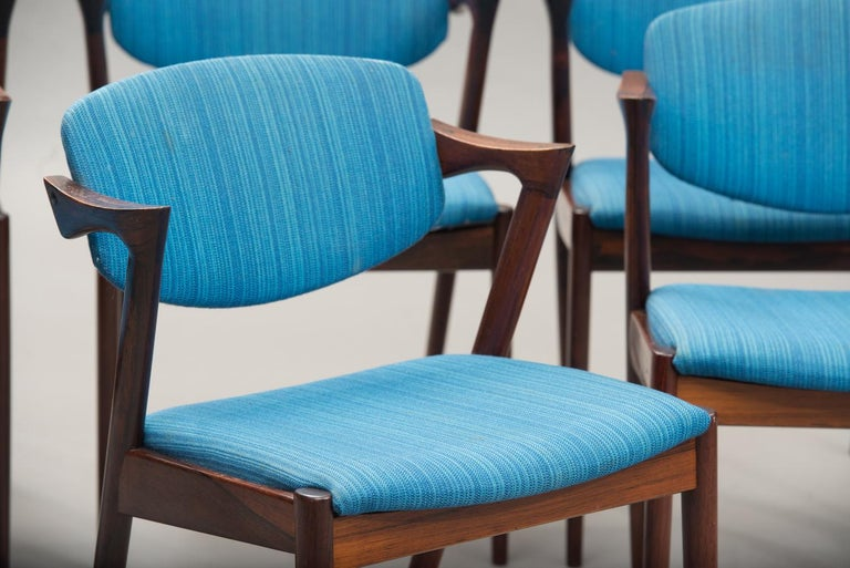 Varnished Kai Kristiansen Rosewood Dining Chairs, Model 42, Set of Six, 1960s. For Sale
