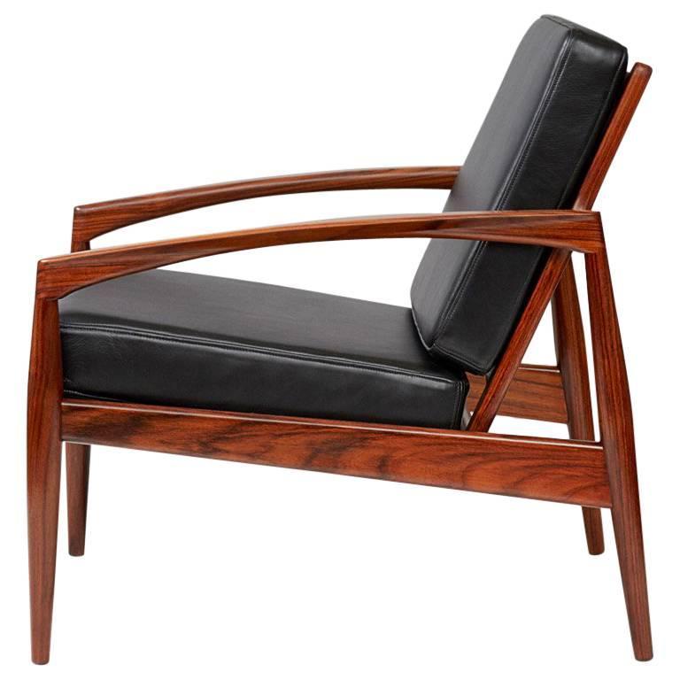 Kai Kristiansen Rosewood Paper Knife Chair, Black Leather