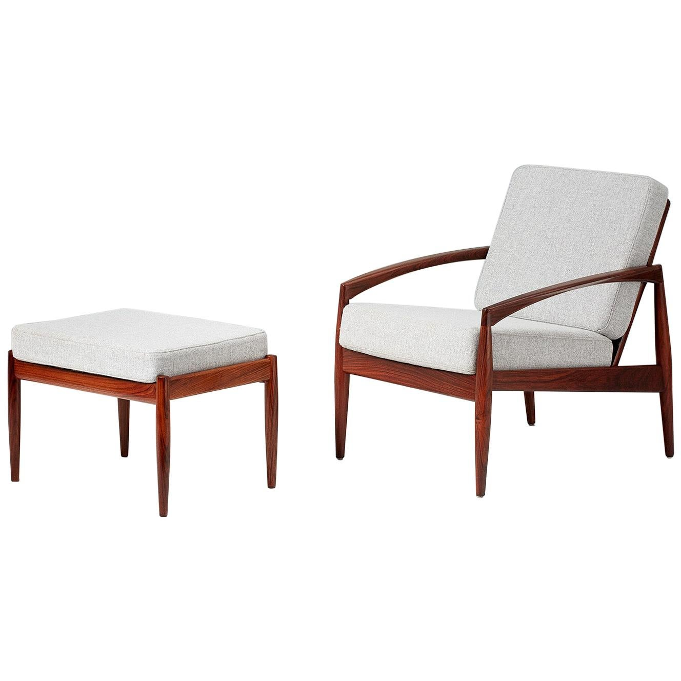 Kai Kristiansen Rosewood Paper Knife Lounge Chair and Ottoman, 1950s
