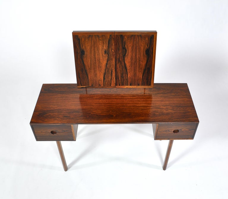 Kai Kristiansen Rosewood Vanity Table with Mirrors by Aksel Kjersgaard, 1960s For Sale 4