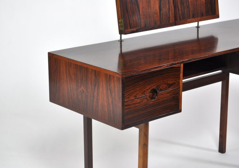 Danish Kai Kristiansen Rosewood Vanity Table with Mirrors by Aksel Kjersgaard, 1960s For Sale