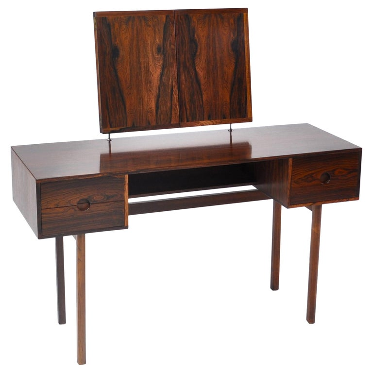 Kai Kristiansen Rosewood Vanity Table with Mirrors by Aksel Kjersgaard, 1960s For Sale
