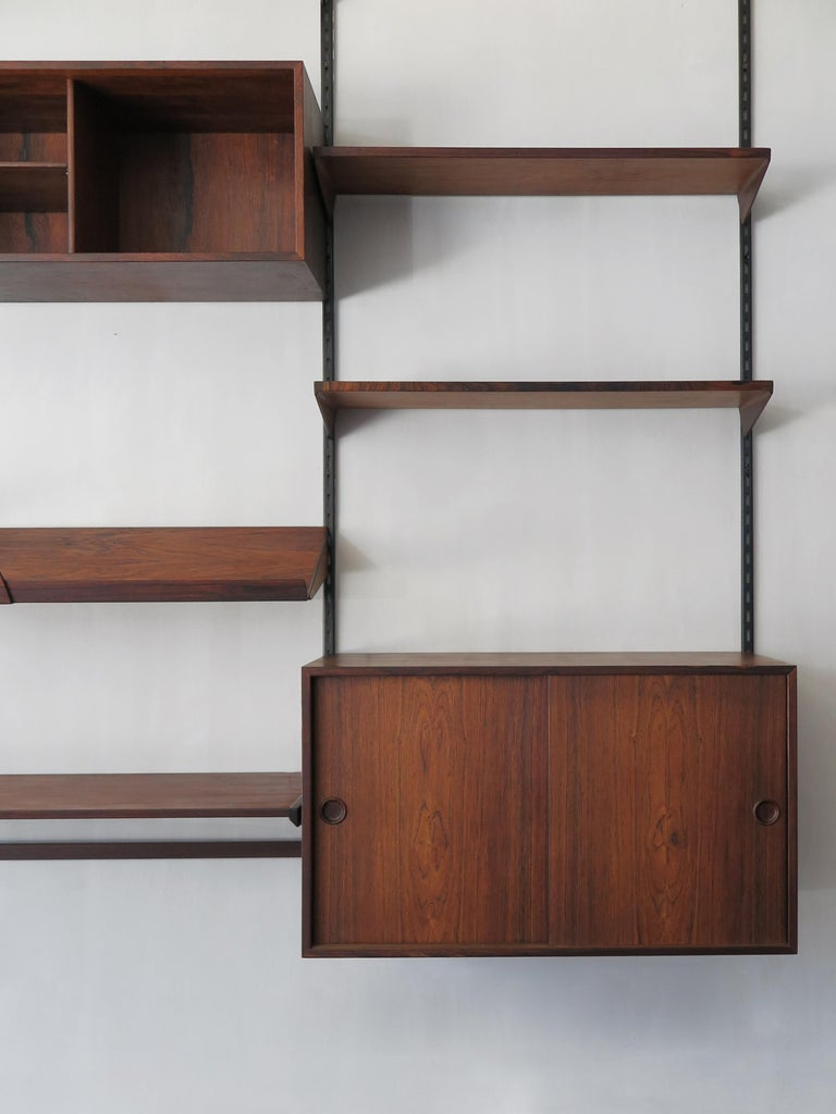 Scandinavian Modern Kai Kristiansen Scandinavian Dark Wood Shelves System for FM Møbler, 1960s
