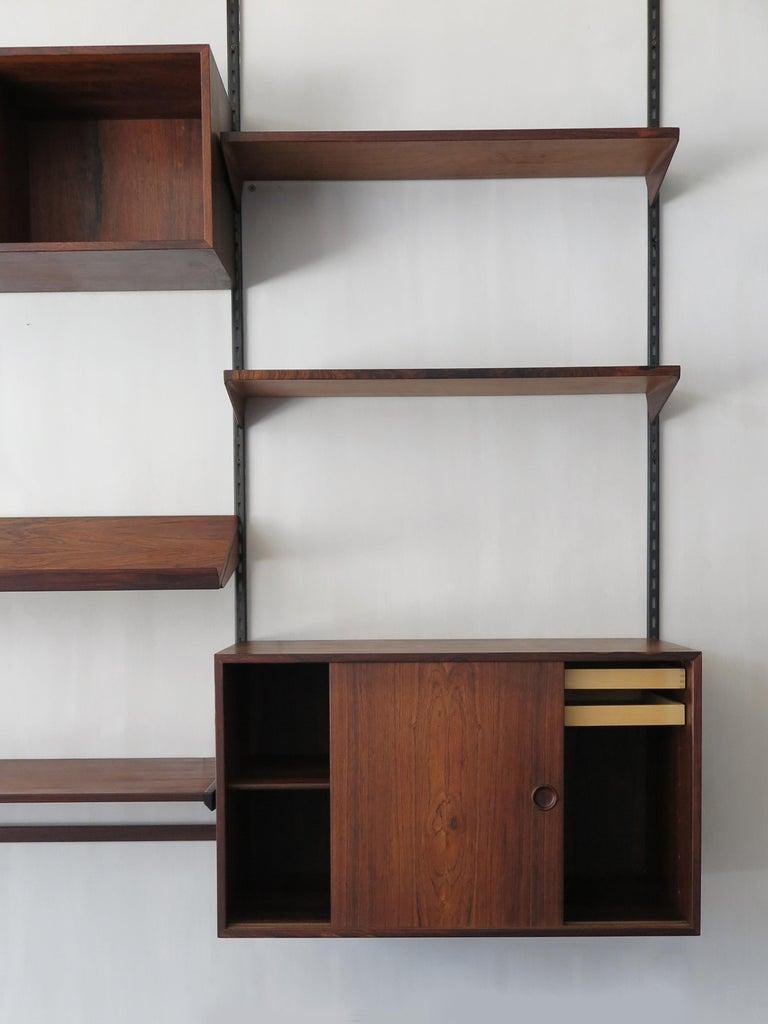 Danish Kai Kristiansen Scandinavian Dark Wood Shelves System for FM Møbler, 1960s