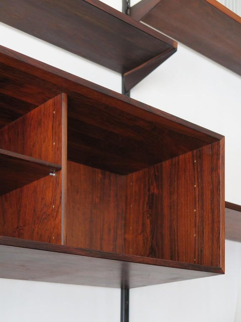 Kai Kristiansen Scandinavian Dark Wood Shelves System for FM Møbler, 1960s 1