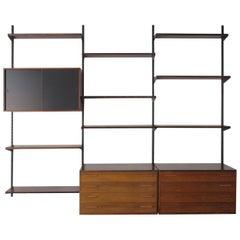 Kai Kristiansen Scandinavian Dark Wood Shelves System for FM Møbler, 1960s