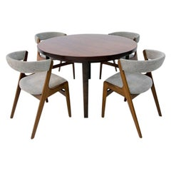 Kai Kristiansen Scandinavian Modern Dining Set of Rosewood Table and Four Chairs