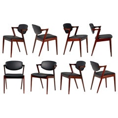 Kai Kristiansen Set of 8 Model 42 Dining Chairs, Rosewood and Leather