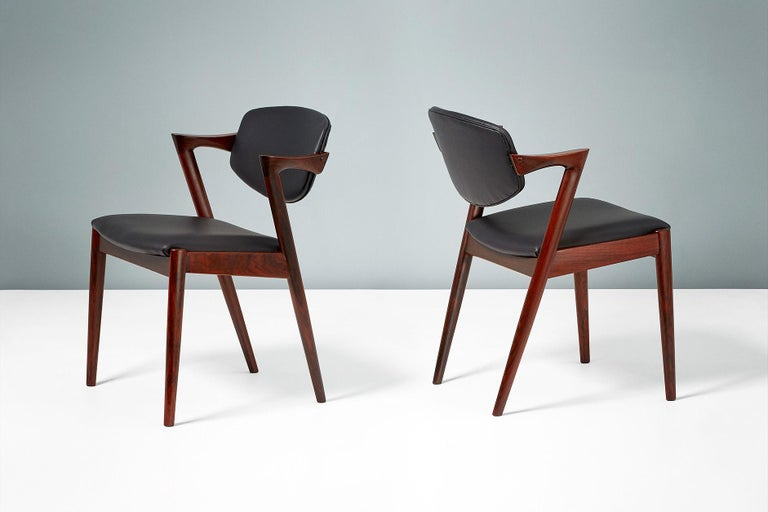 Danish Kai Kristiansen Set of 8 Model 42 Dining Chairs, Rosewood and Leather For Sale