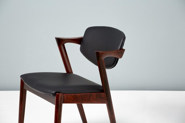 Kai Kristiansen Set of 8 Model 42 Dining Chairs, Rosewood and Leather In Excellent Condition For Sale In London, GB