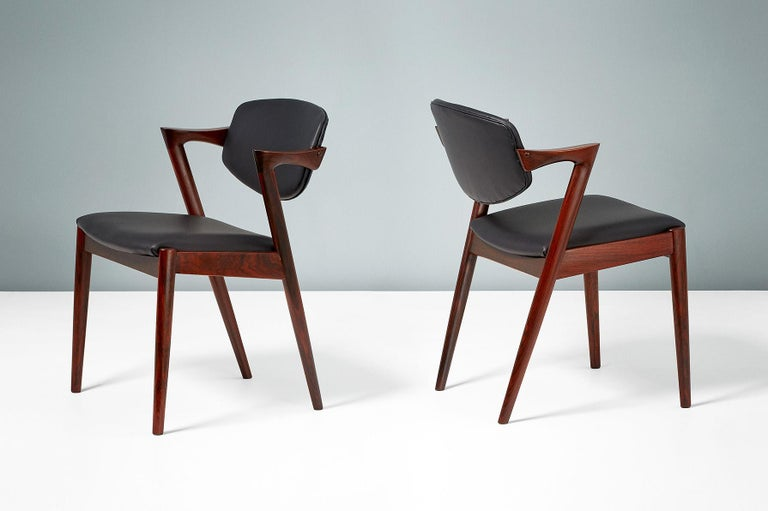 Kai Kristiansen Set of 8 Model 42 Dining Chairs, Rosewood and Leather For Sale 2