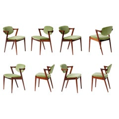Kai Kristiansen Set of 8 Model 42 Rosewood and Velvet Dining Chairs