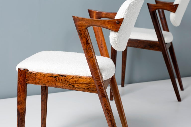 Kai Kristiansen Set of 8 Model 42 Rosewood and Boucle Dining Chairs For Sale 4