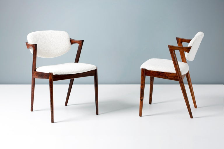 Kai Kristiansen Set of 8 Model 42 Rosewood and Boucle Dining Chairs In Excellent Condition For Sale In London, GB