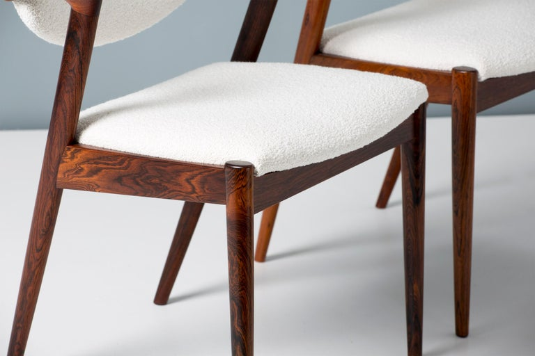 Mid-20th Century Kai Kristiansen Set of 8 Model 42 Rosewood and Boucle Dining Chairs For Sale