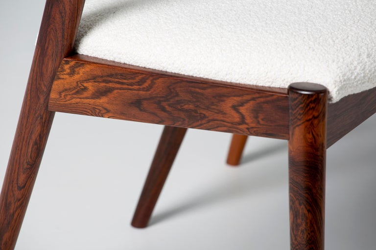 Kai Kristiansen Set of 8 Model 42 Rosewood and Boucle Dining Chairs For Sale 3