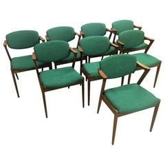 Kai Kristiansen Set of Eight Restored Dining Chairs in Teak Inc Reupholstry