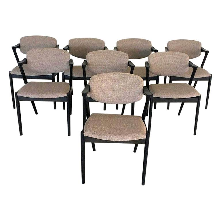 Kai Kristiansen Set of Eight Restored, Ebonized Dining Chairs, Inc. Reupholstery