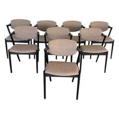 Kai Kristiansen Set of Eight Restored, Ebonized Dining Chairs, Inc. Reupholstery