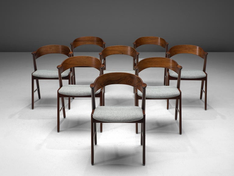 Mid-Century Modern Kai Kristiansen Set of Eight Reupholstered Rosewood Dining Chairs For Sale