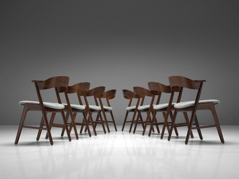 Danish Kai Kristiansen Set of Eight Reupholstered Rosewood Dining Chairs For Sale