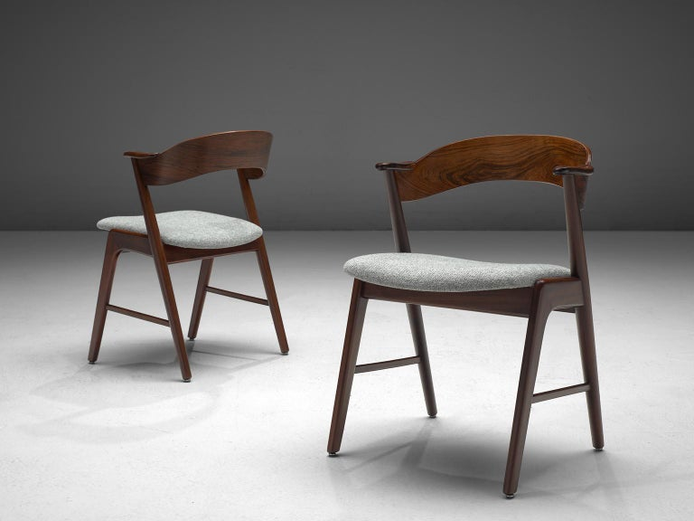 Kai Kristiansen Set of Eight Reupholstered Rosewood Dining Chairs In Good Condition For Sale In Waalwijk, NL