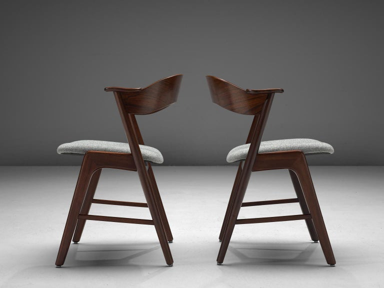 Mid-20th Century Kai Kristiansen Set of Eight Reupholstered Rosewood Dining Chairs For Sale