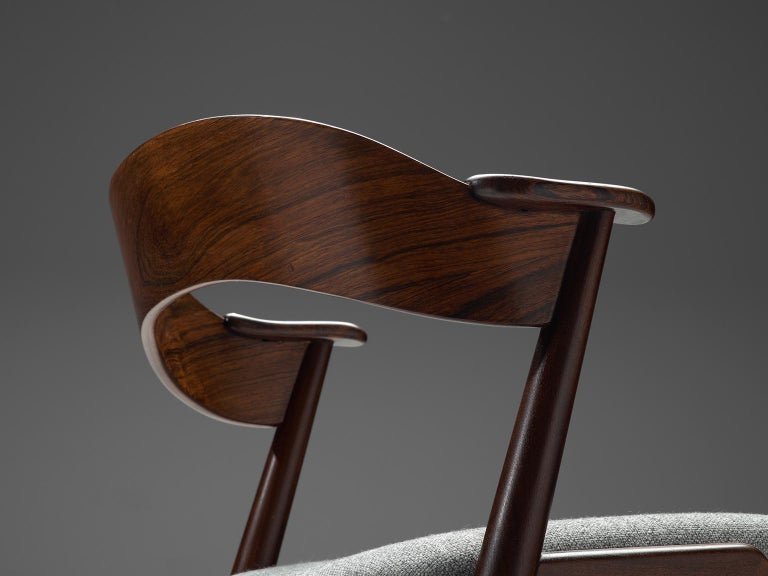 Fabric Set of Eight Scandinavian Dining Chairs in Rosewood For Sale