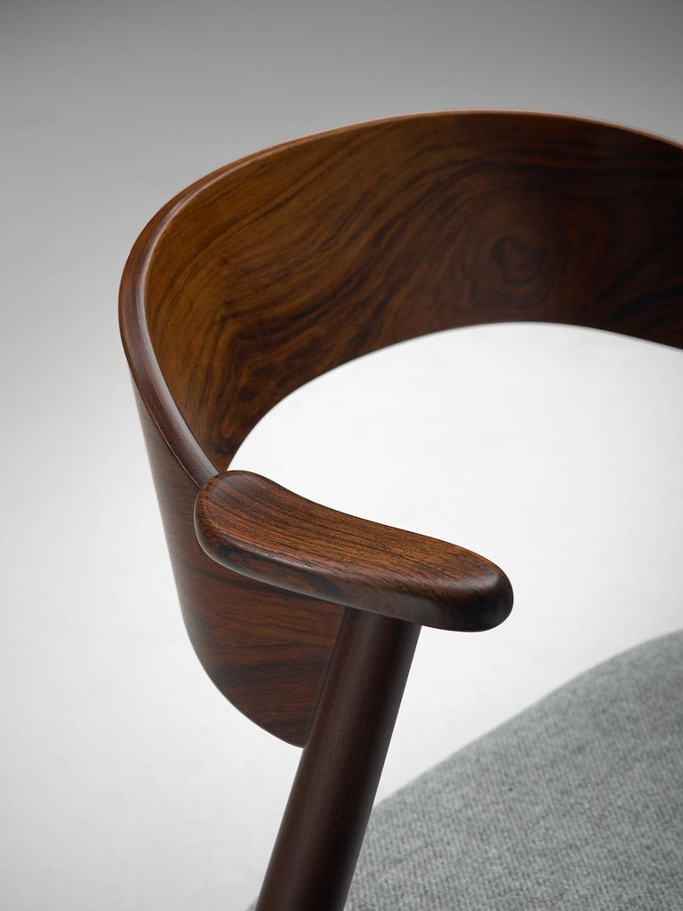 Set of Eight Scandinavian Dining Chairs in Rosewood For Sale 1