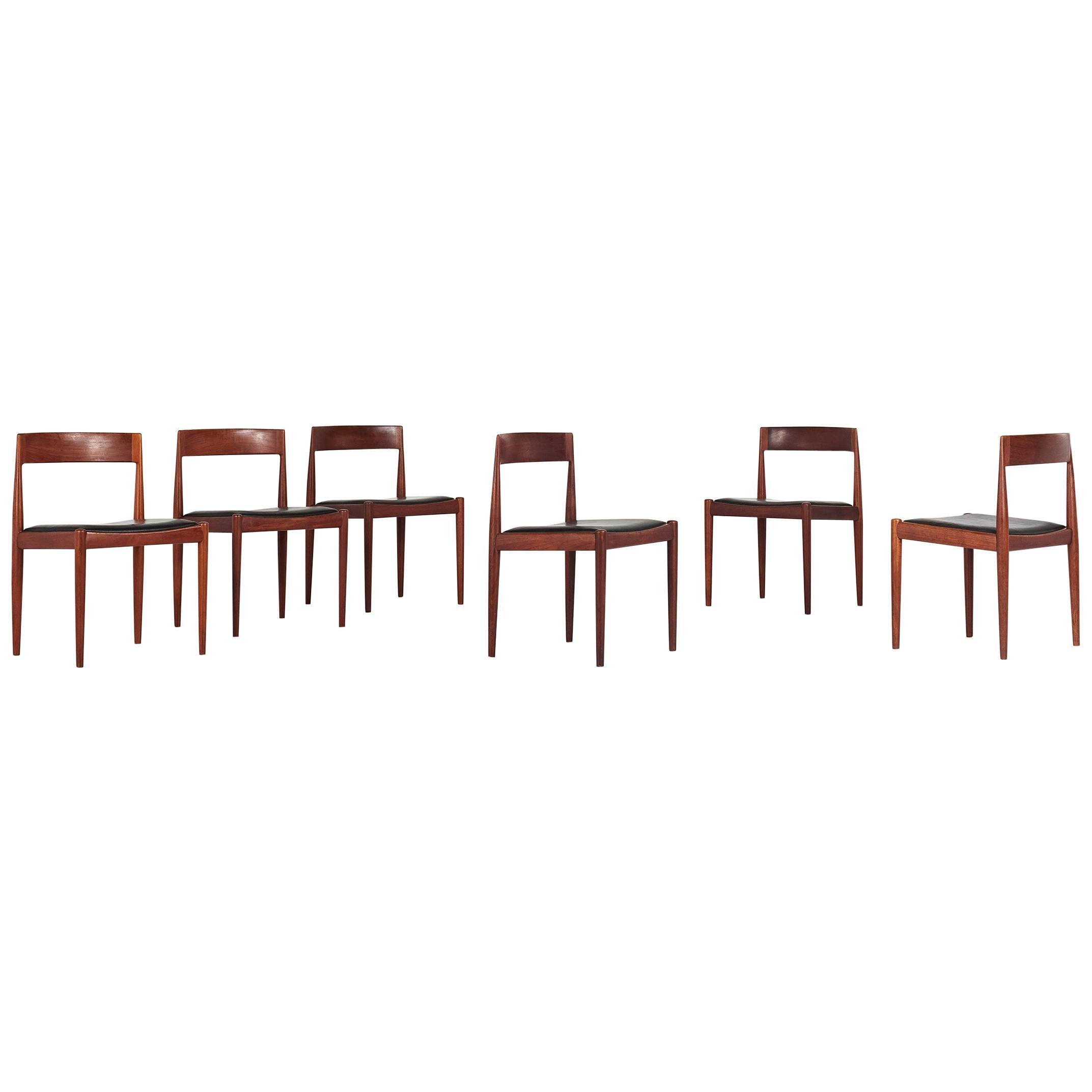 "Kai Kristiansen, Set of Six ""4110"" Chairs for Fritz Hansen, Denmark, C. 1960"