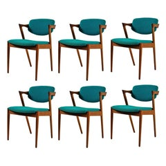 Kai Kristiansen Set of Six Restored Danish Dining Chairs in Teak Inc Reupholstry