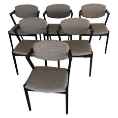 Kai Kristiansen Set of Six Restored, Ebonized Dining Chairs, Inc. Re-Upholstery