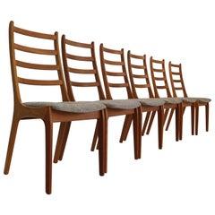 Kai Kristiansen Set of Six Teak Ladder Dining Chairs, 1960s, Denmark
