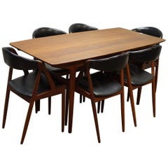 Kai Kristiansen, Set of Six Teak, Model 31 Dining Chairs & Matching Dining Table