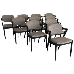 Kai Kristiansen Set of Ten Restored, Ebonized Dining Chairs, Inc. Re-Upholstery