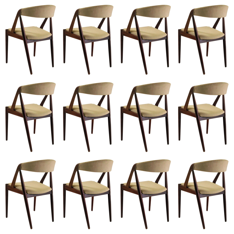 Kai Kristiansen Set of Twelve Restored Teak Dining Chairs, Inc. Re Upholstery