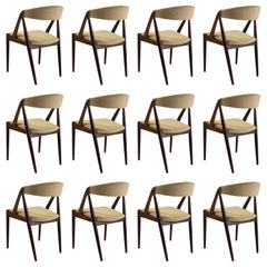 Kai Kristiansen Set of Twelve Restored Teak Dining Chairs, Inc. Re Upholstery
