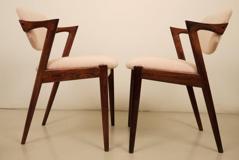 Danish Kai Kristiansen Six Rosewood Dining Chairs Model 42 For Sale