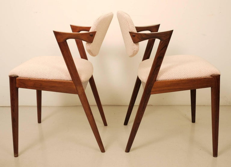 Mid-20th Century Kai Kristiansen Six Rosewood Dining Chairs Model 42 For Sale