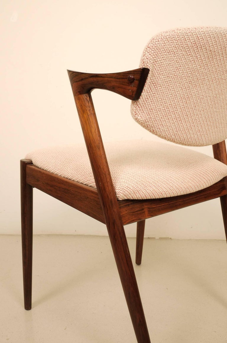 Fabric Kai Kristiansen Six Rosewood Dining Chairs Model 42 For Sale
